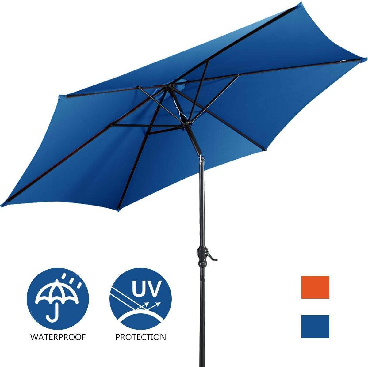 Giantex 9ft Solar Patio Umbrella Sunbrella Without LED Lighted, 6 Ribs Market Steel Tilt w Crank for Garden, Deck, Backyard, Pool Indoor Outdoor Use Blue