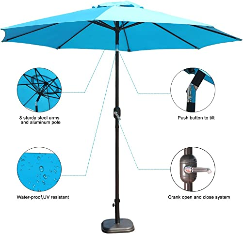 GOLDSUN Patio 9 Ft Market Outdoor Aluminum Table Patio Umbrella