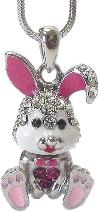 Crystal Rhinestone Enamel White Ear Bunny Rabbit Small Pendant Necklace Jewelry