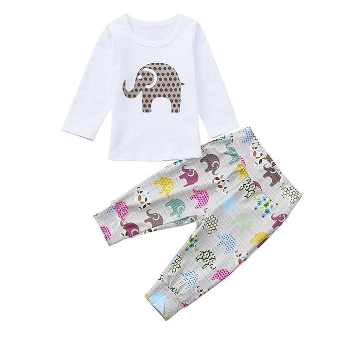 MEIbax Conjuntos de Ropa 2pcs Niño bebé Niños Niñas Ropa Conjunto Elefante  Impresión Chaleco y Pantalones b420afd0f6e