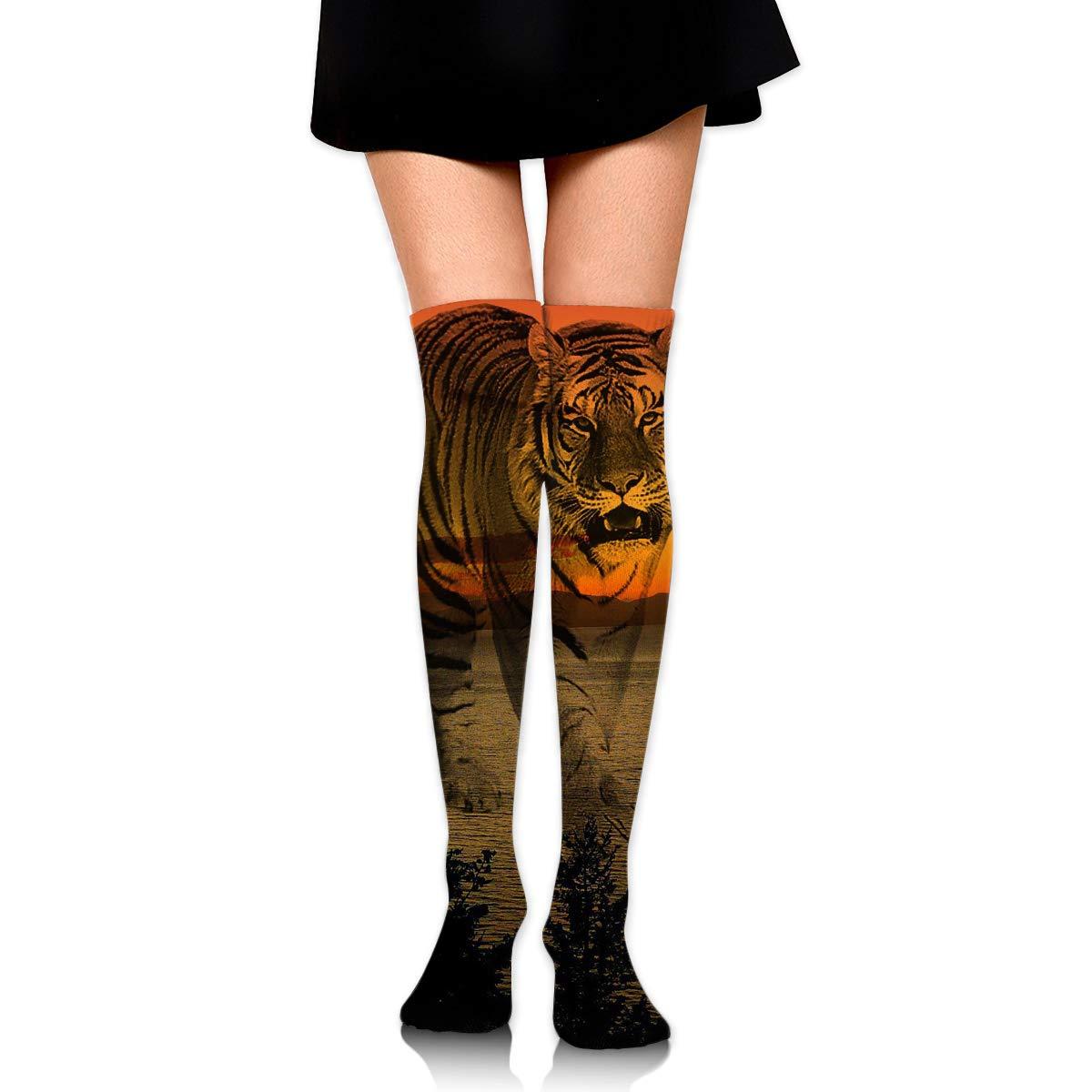 High Elasticity Girl Cotton Knee High Socks Uniform Sunsets Fantasy Lake Tiger Women Tube Socks