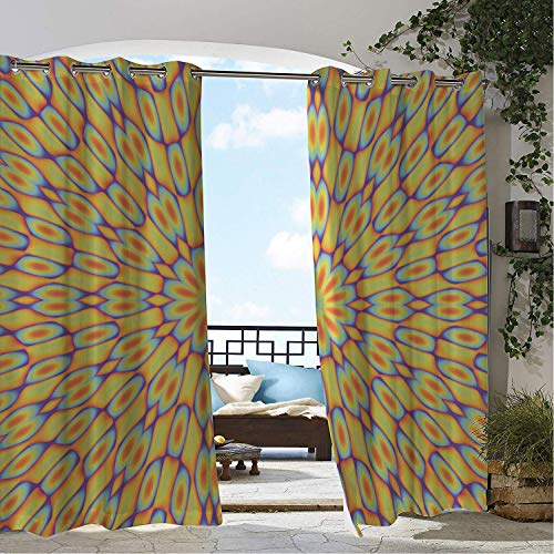 Linhomedecor Patio Waterproof Curtain Psychedelic Funky Floral Optical Illusion Effect Motif Vivid Kaleidoscope Themed Graphic Multicolor Porch Grommets Print Curtains 84 by 72 inch