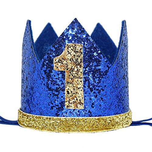 Maticr Glitter Baby Boy First Birthday Crown Number 1 Headband Little Prince Princess Cake Smash Photo Prop (Tiny Royal & Gold 1) -