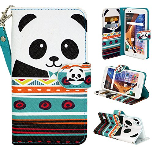 LG Tribute HD Case, Customerfirst PU Leather Wallet Flip Protective Case Cover with Card Slots and Stand For LG Tribute HD LS676 + Emoji Keychain (Panda)