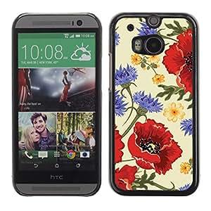 TopCaseStore / la caja del caucho duro de la cubierta de protección de la piel - Flower Red Vintage Vignette - HTC One M8