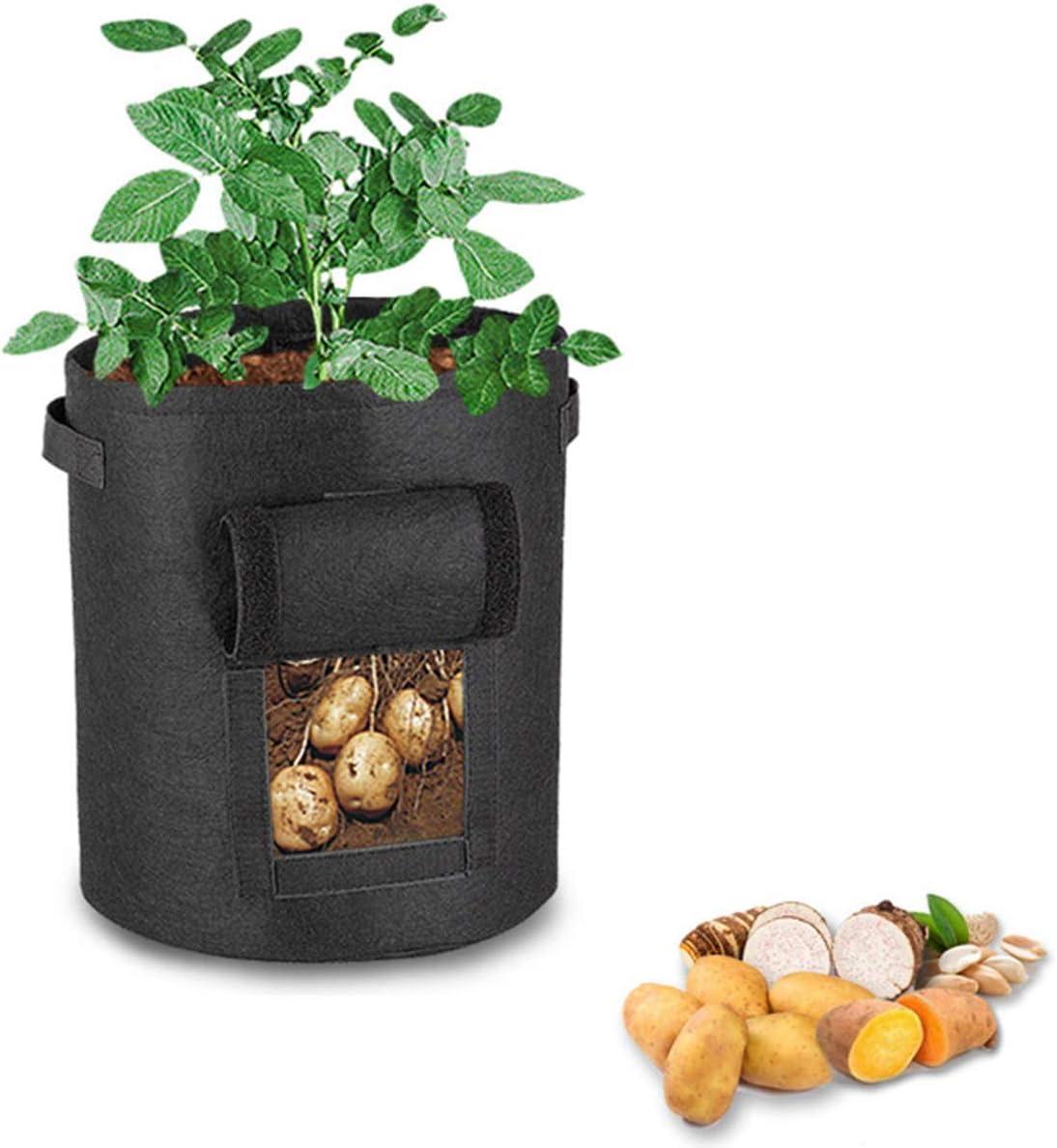 ETDWA DIY Potato Tomato Grow Planter PE Planting Container Bag Vegetable Gardening Thicken Garden Pot Planting Grow Bag,3PCS,28 33CM