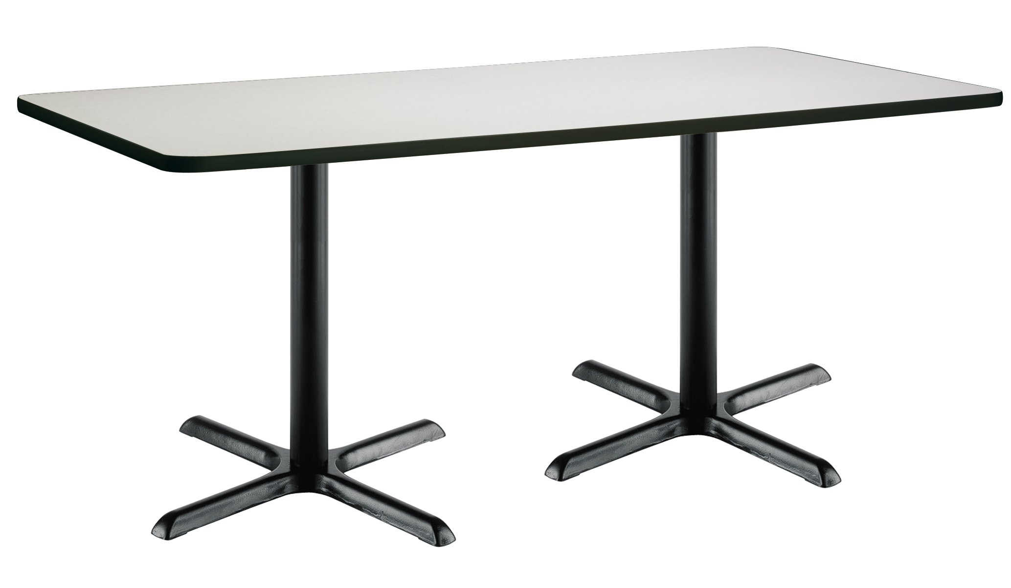 36'' x 72'' Pedestal Table with Crisp Linen Top, Black X-Base by KFI Seating