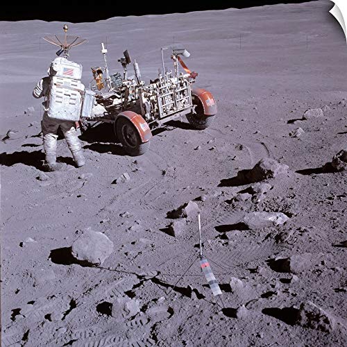 CANVAS ON DEMAND an Astronaut and a Lunar roving Vehicle During an Apollo Moonwalk Wall Peel Art Print, 12