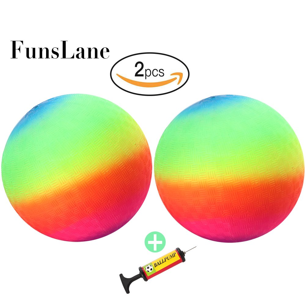 FunsLane 9'' Playground Rainbow Ball With 1pcs Pump (2 pack), Inflatable Dodge Ball Sport Balls Rubber Play Ball Handball for Kids Outdoor & Backyard Games, School & Gym Class by FunsLane