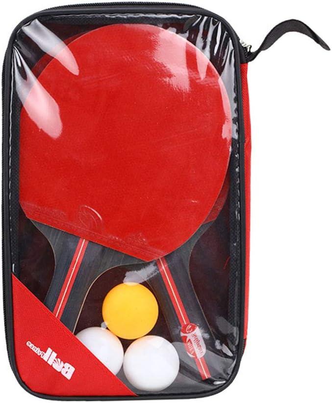 2 unids/Lote Raqueta de Bate de Tenis de Mesa espinillas de Doble Cara en Raqueta de Paleta de Mango Corto y Largo con 3 Bolas para Entrenamiento de Ping Pong