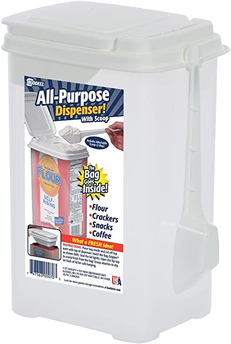 Buddeez Flour & Sugar Storage Container [Attachable Scoop] BPA Free Plastic Made in U.S.A.