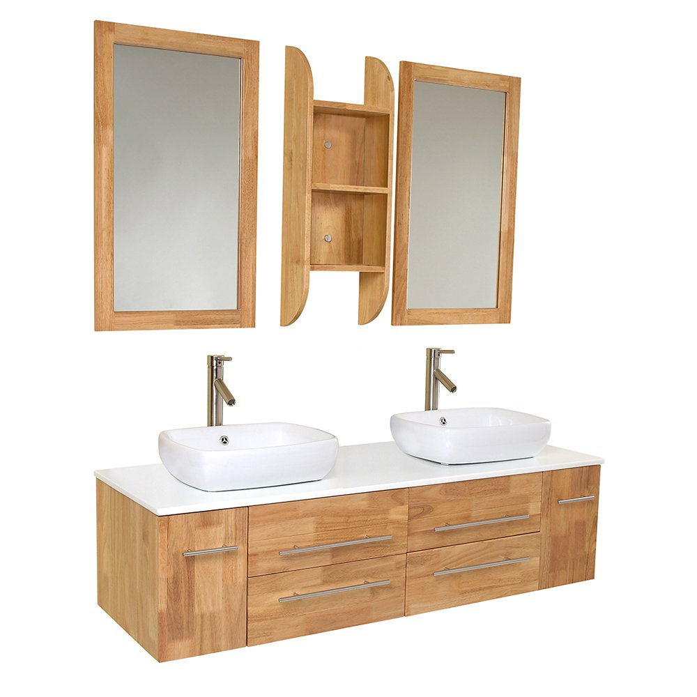 Fresca Bath FVN6119NW Bellezza Double Vanity Sink, Natural Wood      Amazon.com