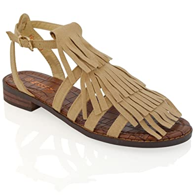 5ee64d852b6fd ESSEX GLAM New Womens Fringe Sandals Ladies Tassel Flat Summer Strappy  Gladiator Sandals  Amazon.co.uk  Shoes   Bags