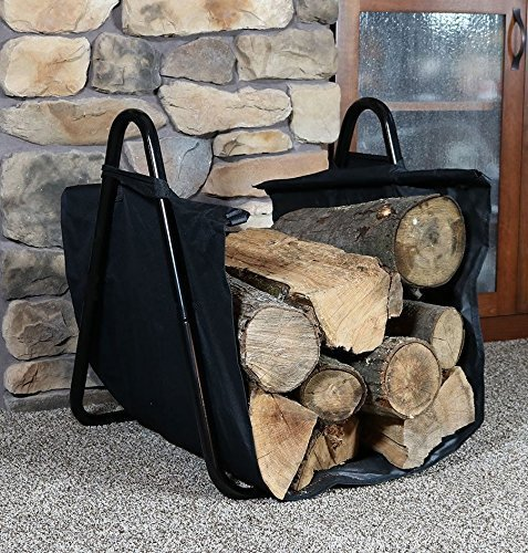 Fireplace Log Holder with Canvas Tote Carrier Indoor Fire ...