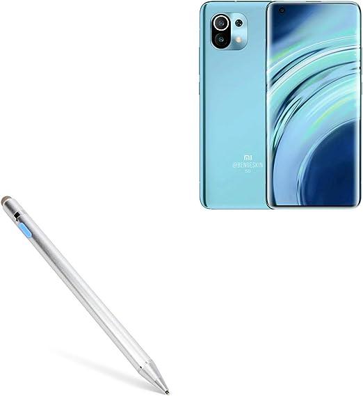 AccuPoint Active Stylus Electronic Stylus with Ultra Fine Tip for OnePlus 8 Lite Metallic Silver OnePlus 8 Lite Stylus Pen BoxWave