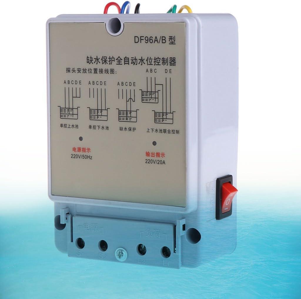 JunYe DF-96A B Controlador autom/ático de Nivel de Agua Bomba Cisterna Auto L/íquido Interruptor 220V