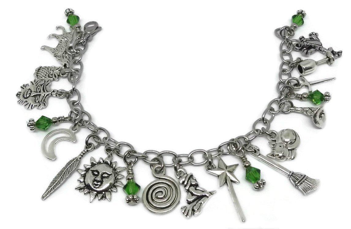 Wiccan Charm Bracelet - Wicca Bracelet, Witch Jewelry, Swarovski Bracelet, Pagan Jewellery