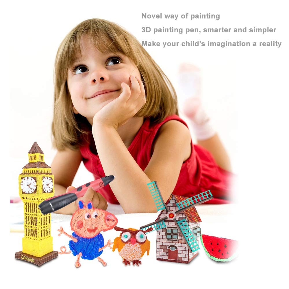 3D Drawing Pen with 18 Colors,6 Colors Glow,1.75mm PLA Filament Refills,Temperature Control,Non-Clogging and Easy to Use-Red Gincleey 3D Pen,3D Printing Pen for Kids