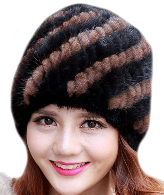 Vska Mink Fur Knitted Thicken Cap Girls Ladies Winter Warm Beanies Hat