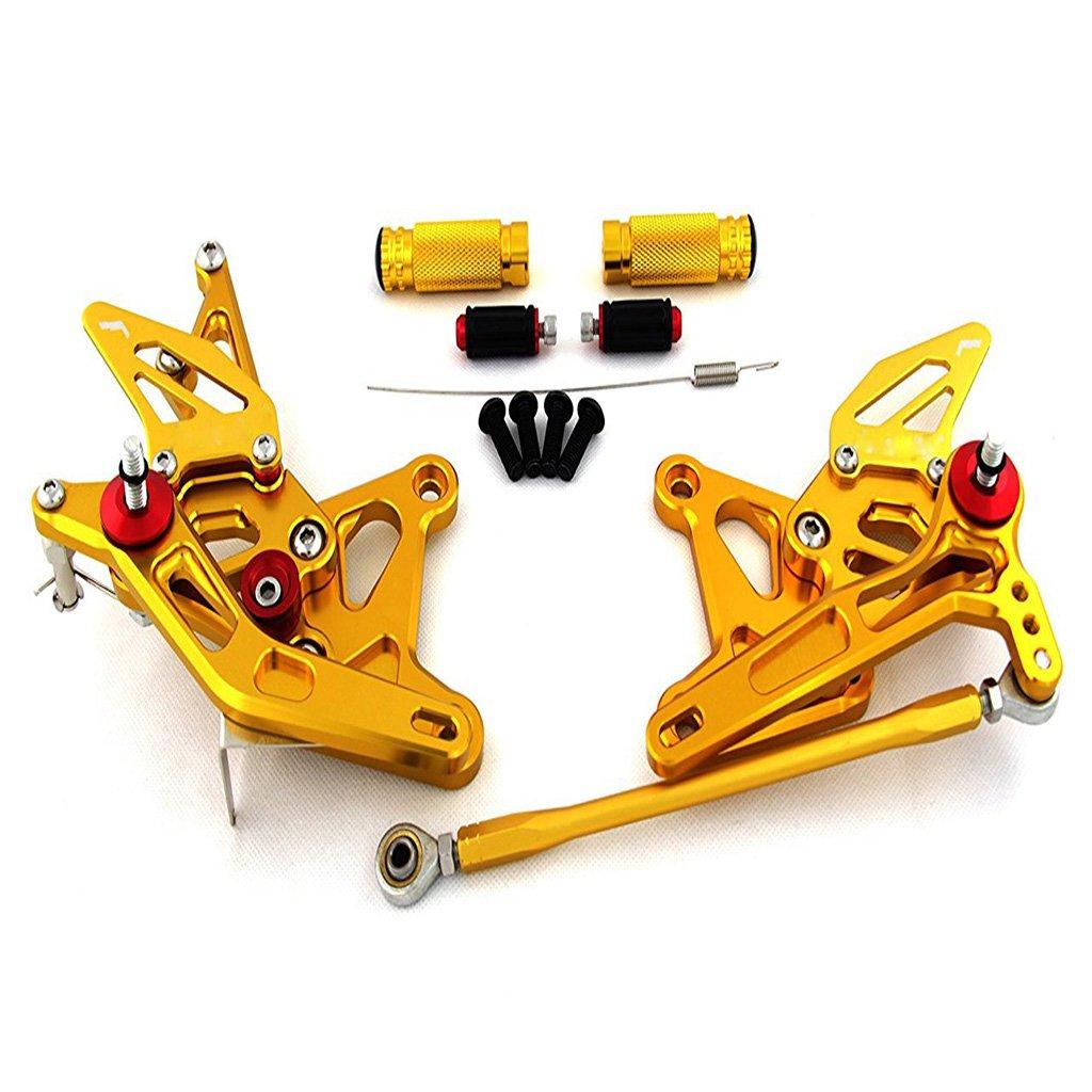 Adjustable Rearsets Rear Set Footpeg For Kawasaki ZX6R 2005-2006 (Gold) CNC0027