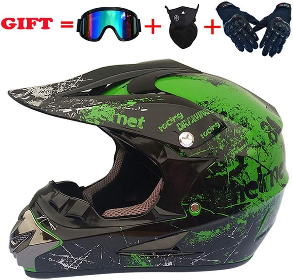 モトクロスクラッシュヘルメット、DOT認定アダルトオートバイオフロードヘルメットATVクワッドATVスクーターデュアルスポーツヘルメット4個セット、グリーン、XL、グリーン、L,グリーン、ラージ