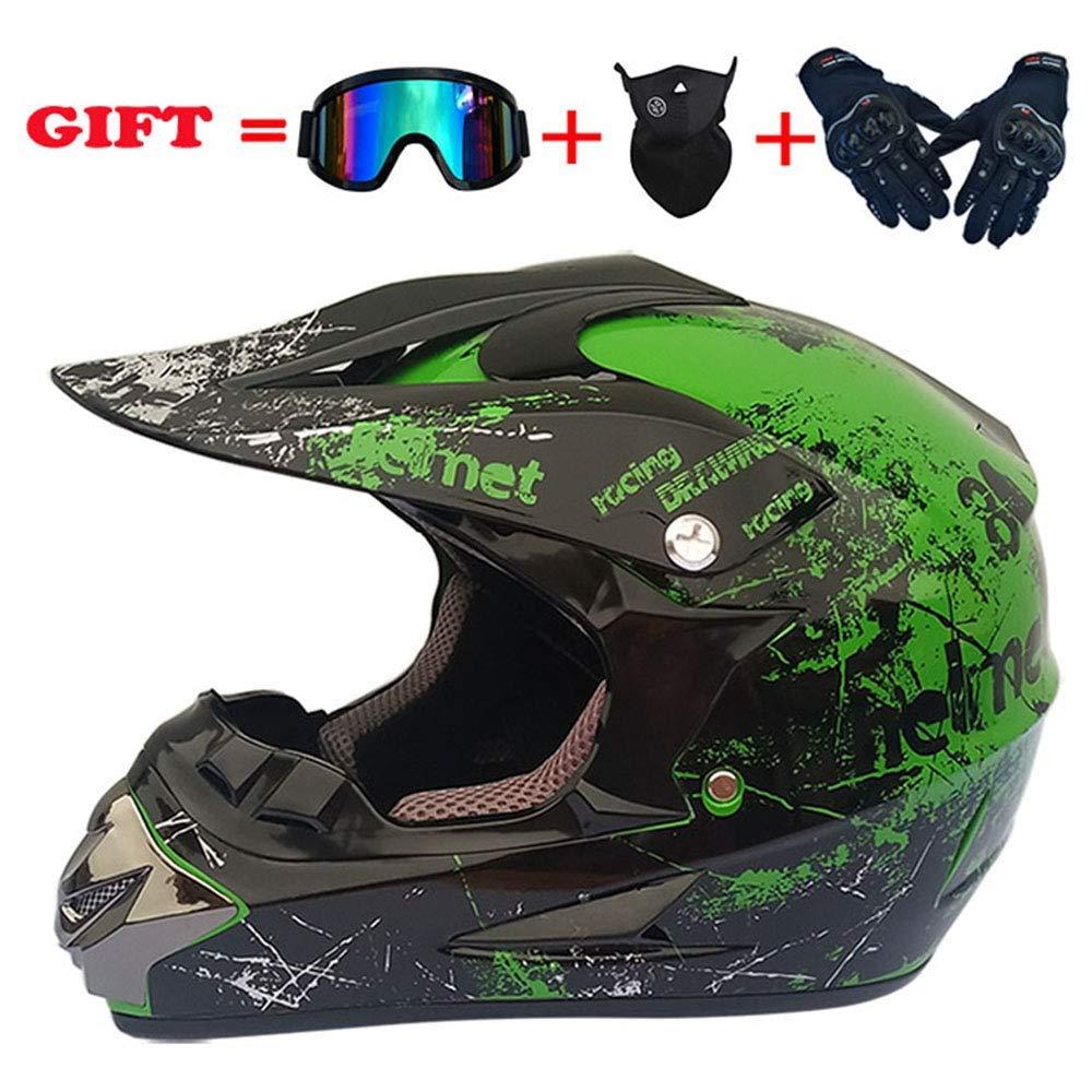 モトクロスクラッシュヘルメット、DOT認定アダルトオートバイオフロードヘルメットATVクワッドATVスクーターデュアルスポーツヘルメット4個セット、グリーン、XL、グリーン、L,緑、小