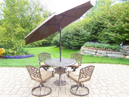 picture of Oakland Living Mississippi 7-Piece Set with 42-Inch Table, 4 Swivel Rockers, 4 Cushions, 9-Feet Tilt and Crank Brown Umbrella and Stand