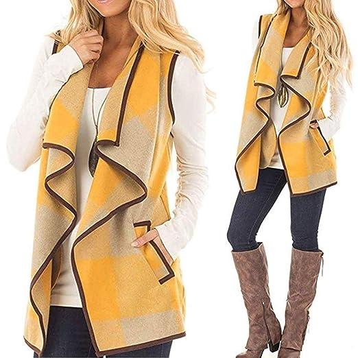 Amazon.com: Womens Coats Winter Besde Womens Fashion Casual Warm Lightweight Outwear Vest Plaid Sleeveless Lapel Open Front Cardigan Sherpa Jacket ...