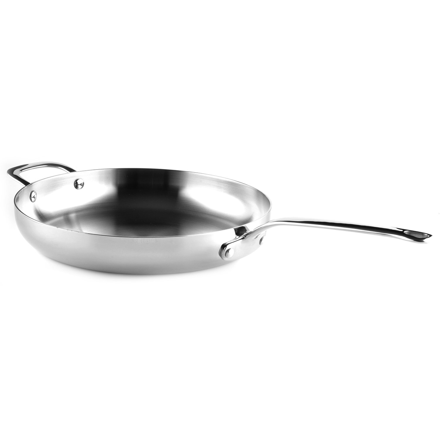Saber Cookware Professional Grade 5-Ply Stainless Steel Skillet/Fry Pan, 12'', Silver
