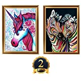 2 Pack DIY 5D Diamond Painting Kits, Full Diamond Animal Resin Cross Stitch Kit, Crystals Rhinestone Embroidery Arts Craft Supply for Home Wall Decor, 11.8 x 15.7 Inch (Unicorn and Zebra)