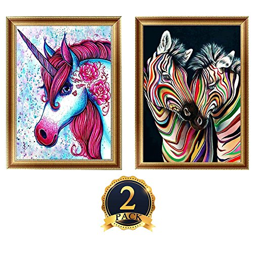 2 Pack DIY 5D Diamond Painting Kits, Full Diamond Animal Resin Cross Stitch Kit, Crystals Rhinestone Embroidery Arts Craft Supply for Home Wall Decor, 11.8 x 15.7 Inch (Unicorn and Zebra) by AOFOX