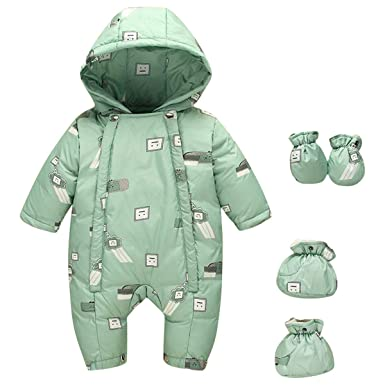 9bcdf172ae73 Amazon.com  Lemohome Baby Boys Girls Down Jumpsuit Romper Winter ...