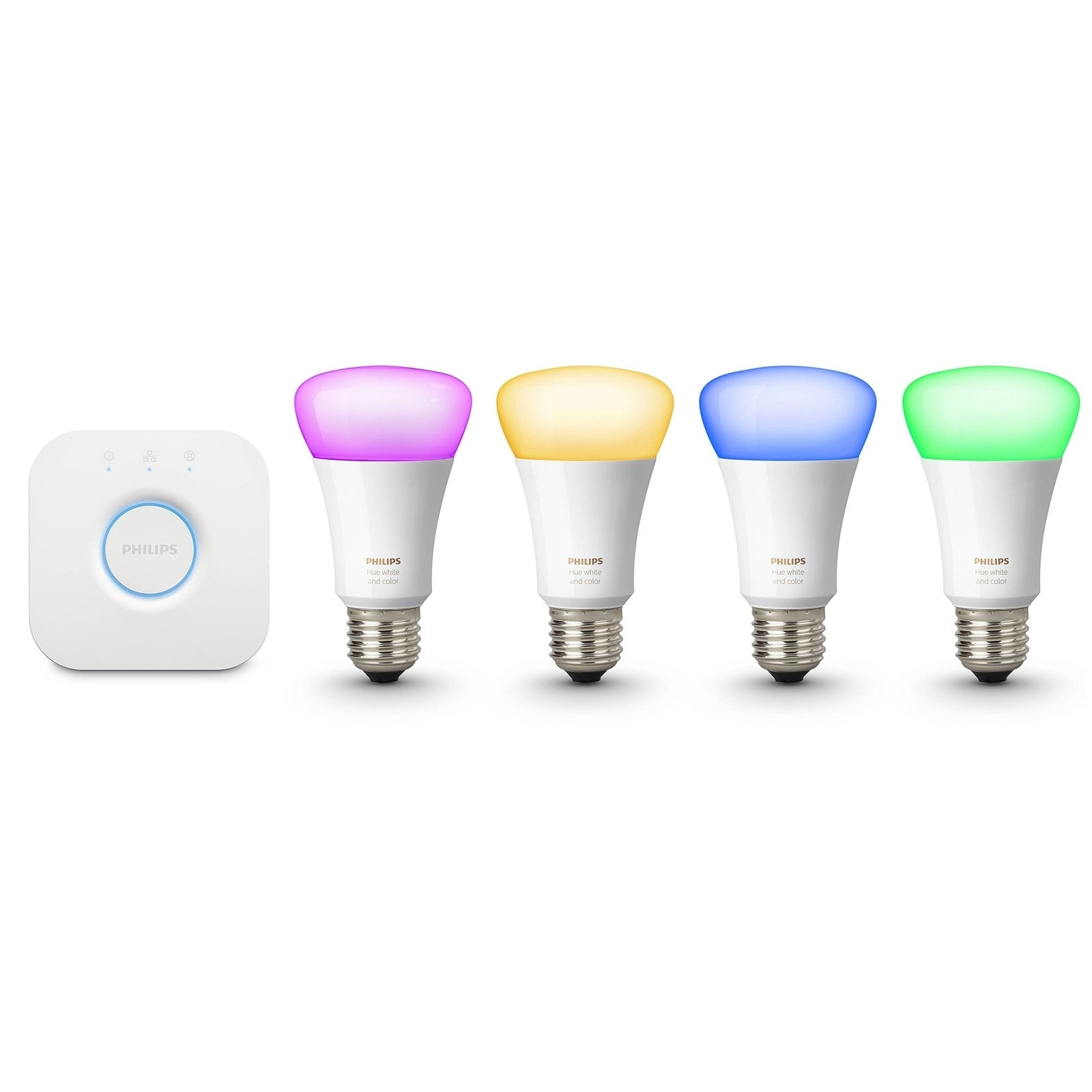 Philips Hue 471960 60W Equivalent White and Color Ambiance Kits, 3rd Generation, Compatible with Alexa (Renewed) (4 White and Color Ambiance Bulb + Bridge)