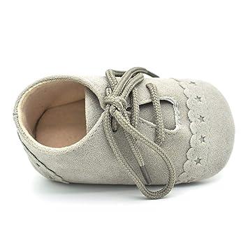 Gjyia - Zapatillas Antideslizantes para bebé, con Cordones, Tela de Ante, Gris Claro, Small: Amazon.es: Hogar