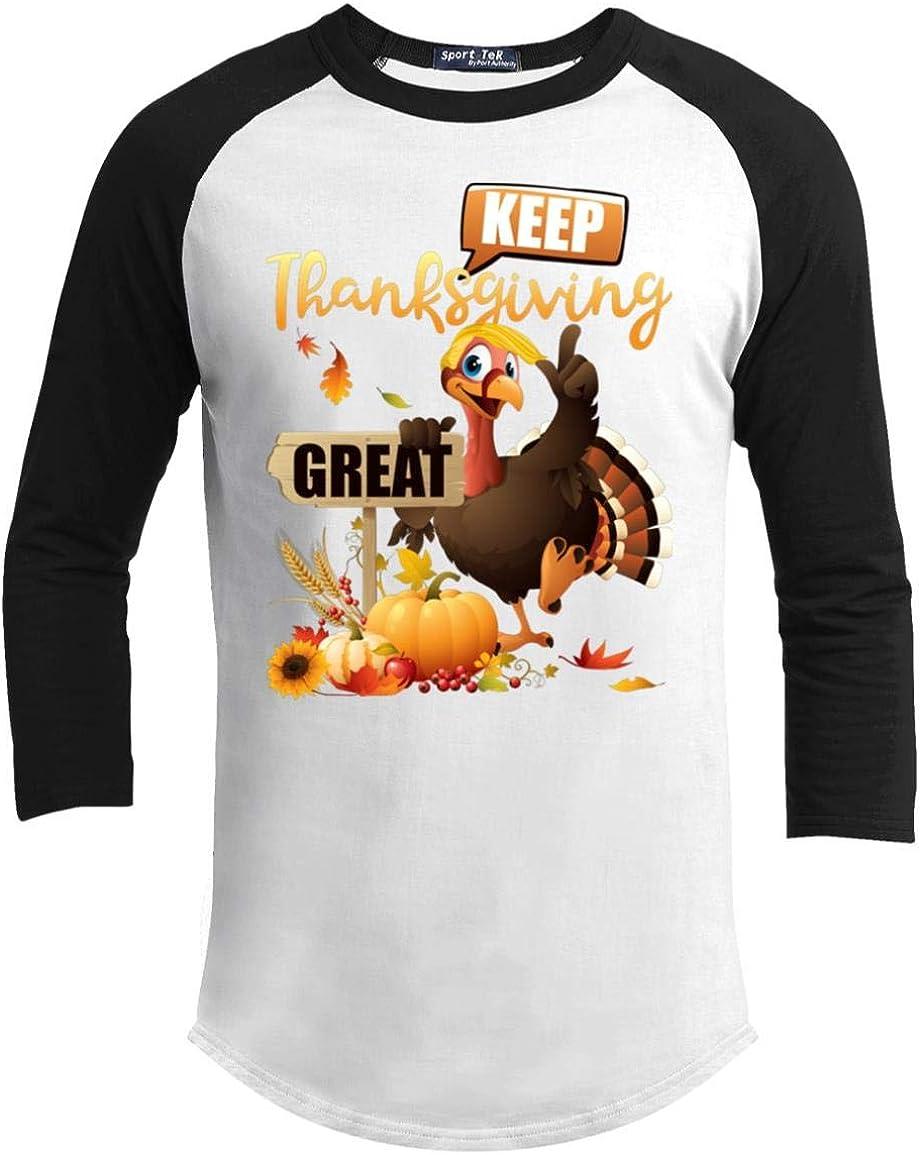UrVog Keep Thanksgiving Great Turkey Raglan Jersey Shirt Funny Turkey Make Thanksgiving Great Again Baseball Tee
