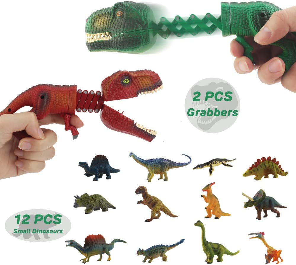 DINOBROS Hungry Dino Grabber Toys 2 Dinosaur Chomper with 12 Small Dino Figures Playset T-Rex Claw Game Snapper Dinosaur Toys for Boys 3 4 5 6 7 Year Old
