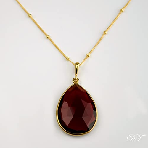 Amazon large teardrop garnet quartz pendant necklace january large teardrop garnet quartz pendant necklace january birthstone garnet necklace garnet pendant necklace aloadofball Images