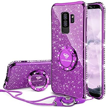 OCYCLONE Fundas Samsung Galaxy S9 Plus Púrpura,Purpurina Brillante Fundas Galaxy S9 Plus para Mujer con Glitter Diamante Anillo,Ultrafina Soft Funda ...