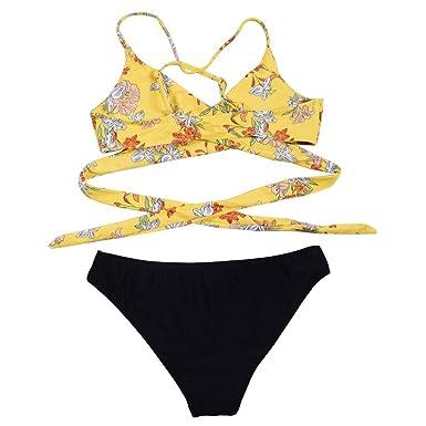 08808a03a BBesty Women s Print Sexy Thin Split Swimsuit Bikini Cut Flower Two-Piece  Swimsuit Tankini Beach Swimsuit at Amazon Women s Clothing store