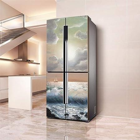 3D HD PVC Refrigerador Puerta Etiqueta Autoadhesiva Desmontable DIY, Vinilo Impermeable Cocina Refrigerador Armario Puerta Cubierta Completa Pegatinas Decorativas Pegatinas (100 * 180cm,BY1): Amazon.es: Hogar