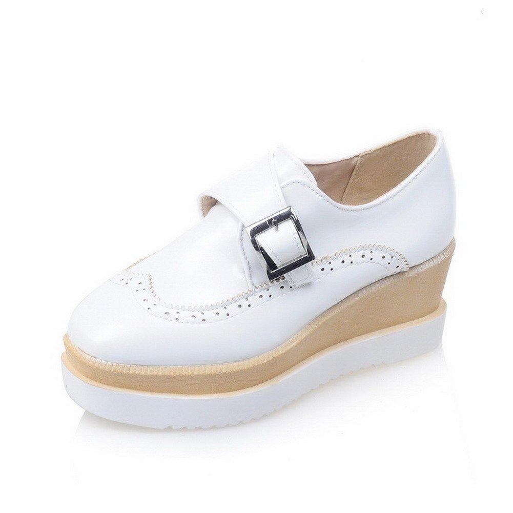 AalarDom Women's Square Closed Toe Buckle PU Solid Kitten-Heels Pumps-Shoes, White, 38