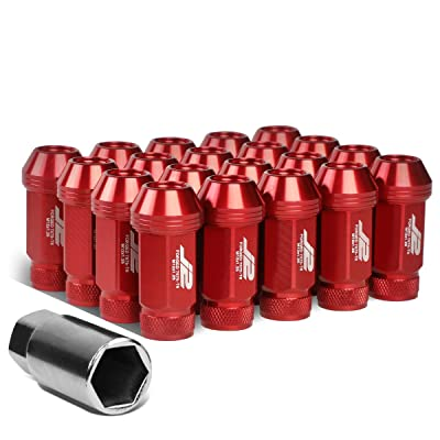 J2 Engineering LN-T7-021-125-RD Red 20Pcs M12 x 1.25 7075-T6 Aluminum 50mm Open-End Lug Nut w/Socket Adapter: Automotive