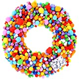 Caydo 2000 Pieces Assorted Sizes Multicolor Pompoms Glitter Pom Poms with 4 Sizes Wiggle Googly Eyes for Hobby Supplies and Creative Craft DIY Material