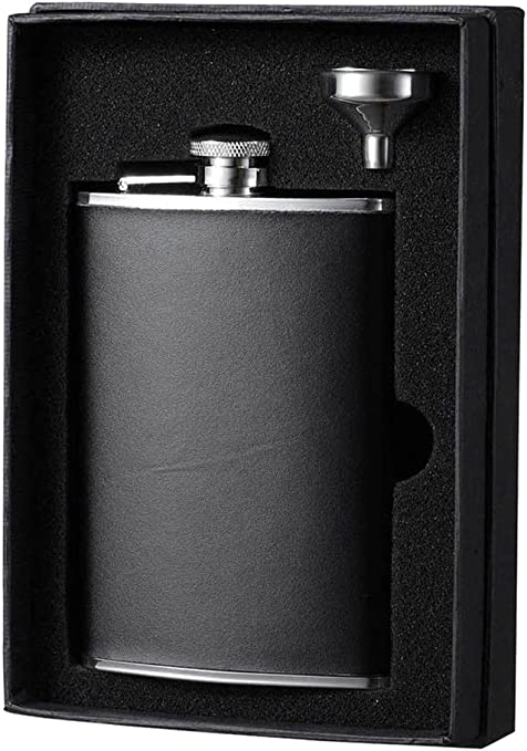 Amazon Com Visol Holiday Essential Ii Ano Smooth Black Leather Liquor Flask Gift Set 8 Oz Silver Flasks