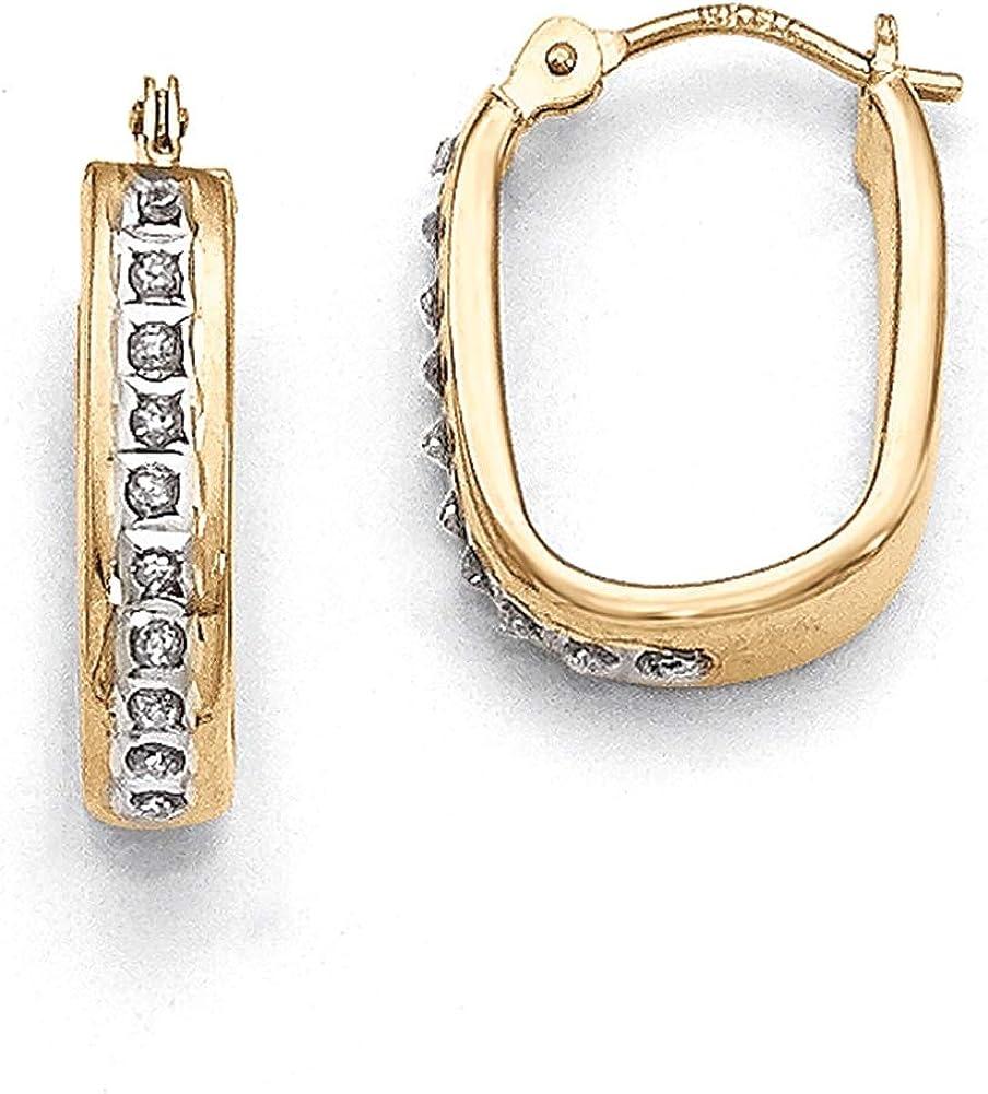 Lex /& Lu 14k Yellow Gold Diamond Fascination Squared Hoop Earrings LAL75900