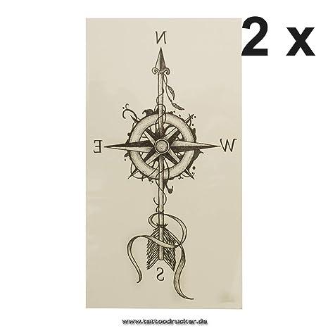 XQB023 - Brújula con Forma de Flecha, Tatuaje Temporal, Color Negro, Negro, 2 x Kompass Tattoo: Amazon.es: Hogar