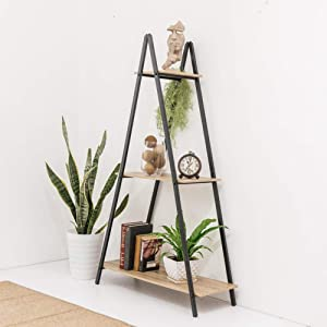 C-Hopetree Ladder Bookcase Bookshelf Storage Shelf Vintage Industrial Plant Display Stand Rack, Home Office Accent Furniture, Black Metal Frame, 3 Tier A Frame