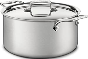 All-Clad BD55508 D5 Brushed 18/10 Stainless Steel5-Ply Bonded Dishwasher Safe Stockpot Cookware, 8-Quart, Silver