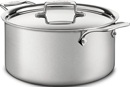 All-Clad BD55508 D5 Brushed 18 10 Stainless Steel 5-Ply Bonded Dishwasher Safe Stockpot Cookware, 8-Quart, Silver
