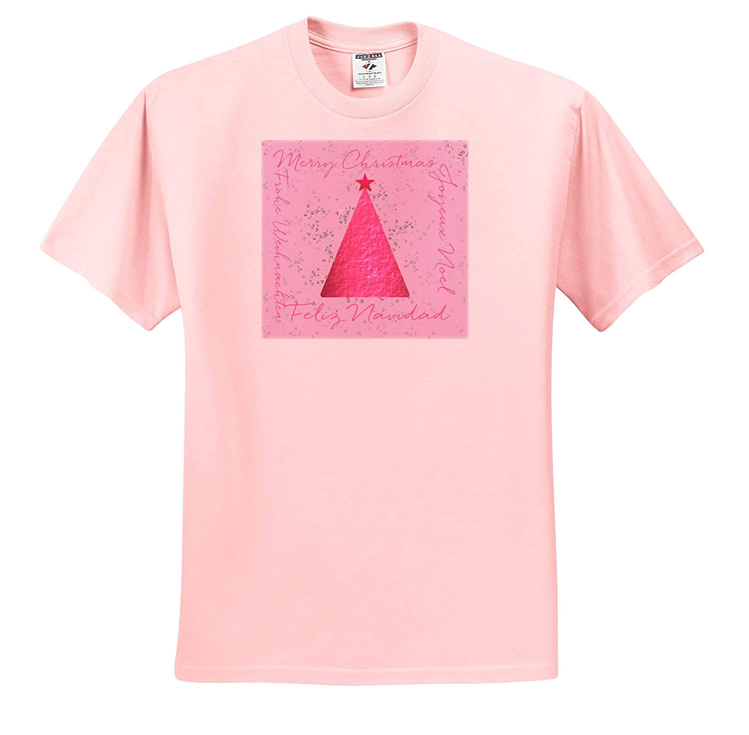 3dRose Andrea Haase Christmas Illustration T-Shirts Pink Christmas Tree Design with Text Frame